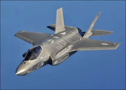 Lockheed Martin's F-35A Lightning II jet which can use vectored thrust to take off and land