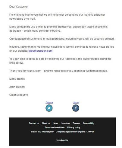 The email from Wetherspoons