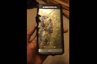 Youtuber Ariel Gonzalez shares images of his Galaxy Note 7 phone after it set on fire