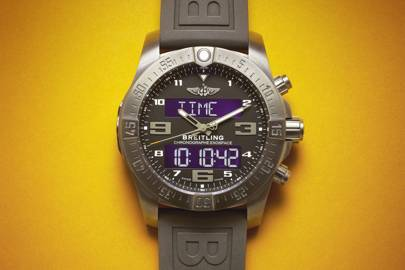 The Breitling Exospace B55 is pictured. Without the benefit of its own touchscreen, all of the watch's functions are controlled using a conventional watch crown and pushers, which does not make its advanced functions out-of-the-box intuitive and caused WIRED to quickly crash the timepiece