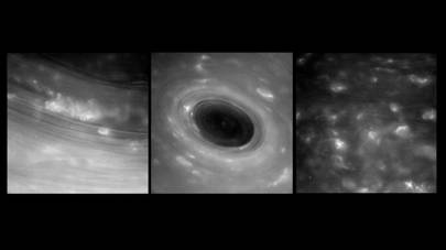 These images show features in Saturn's atmosphere from closer than ever before. They were captured by Cassini during its first Grand Finale dive past the planet on April 26, 2017
