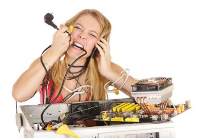 Woman eating PC innards