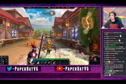 Paperbat (51,302 followers) broadcasts a Smite session on Twitch