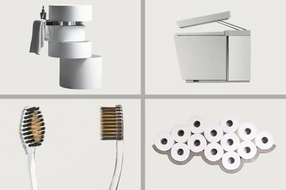 From top left, clockwise: Alessandro Isola Orbit Sink, Kohler Numi,  Nano-b Toothbrush,  Lyon Beton Cloud
