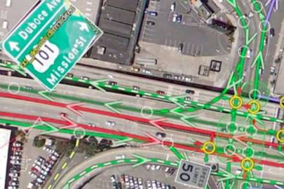 Street signs captured algorithmically from Street View imagery can be seen inside Atlas. So can information about traffic flow