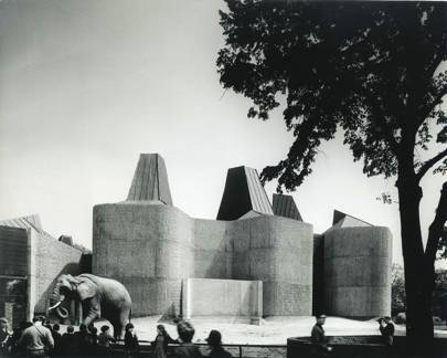 The Elephant House designed by architects, Casson Conder Partnership. Photo by Henk Snoek taken in 1965