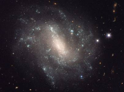 The Hubble Space Telescope observes distant galaxies to measure how fast the Universe is expanding