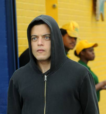Actor Rami Malek is seen on the set of 'Mr. Robot'