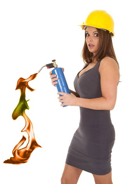 Woman with flaming canister