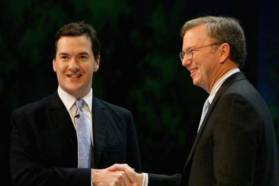George Osborne and Eric Schmidt, executive chairman of Google's parent company Alphabet, at the Conservative Party conference in 2006