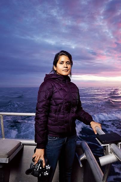 Asha de Vos on a whale-watching boat off the coast of Santa Cruz, California