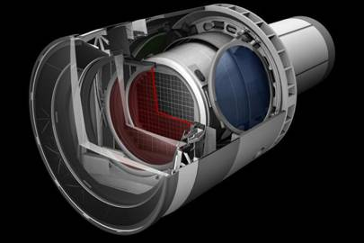 A rendering of the LSST Camera with a cut away to show the inner workings