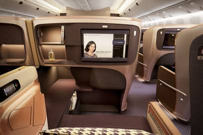 The new business-class cabin seat in Singapore Airlines' Boeing 777-300ER