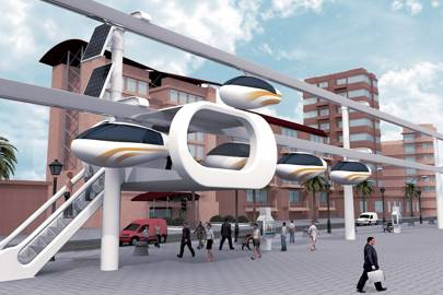 Capsules suspended from monorail hope to ease congestion