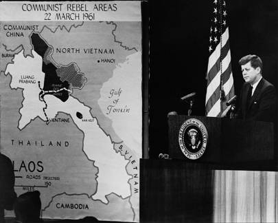 President Kennedy is pictured in 1961 with a Vietnam CIA map