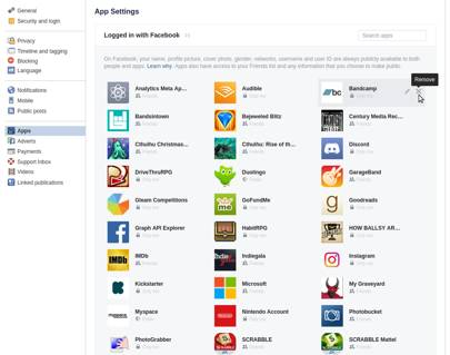 How to delete or deactivate a facebook account permanently wired uk go through and delete all the apps listed in the logged in with facebook section using the x symbol on each icon ccuart Choice Image