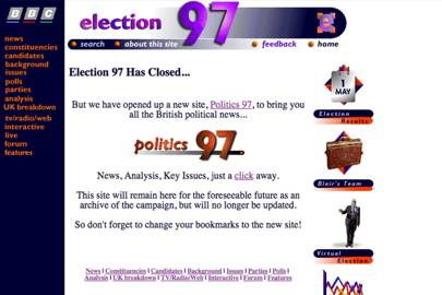 Some sections of the BBC's 1997 election microsite are still online, including an interactive swingometer
