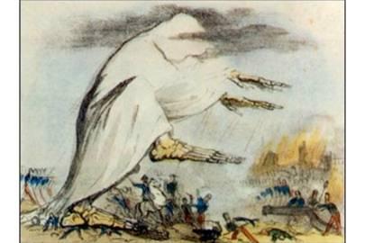 "Cholera, as represented by a skeleton of ""bad air."""