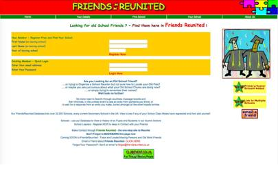 How Friends Reunited looked when it launched in 2000