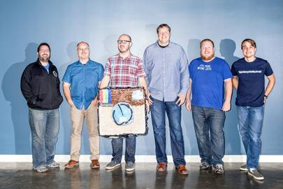 From left to right, Instagram and Facebook engineers Pedro Canahuati, Patrick Bozeman, Rick Branson, Nick Shortway, Chris Bray, and Michael Gorven–part of the team that moved Instagram. And then moved it again