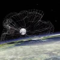 Render of the RemoveDEBRIS space junk capture satellite