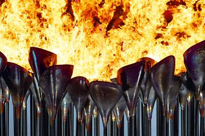 204 flaming bronze stems came together to form the centrepiece of the London 2012 games