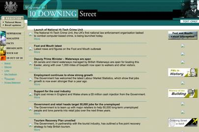 The website for 10 Downing Street launched in 2000. This is what it looked like shortly before the 2001 general election.