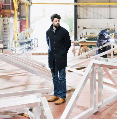 Conrad Shawcross with parts of The Optic Cloak