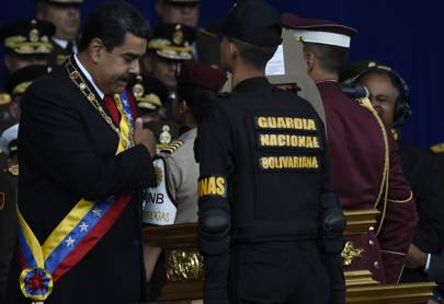 A speech by Venezuelan president Nicolás Maduro was interrupted by explosions in the sky as the military shot down two explosive-laden drones
