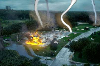 The effects crew used propane bars shooting 6m flames as a reference for the fire tornadoes