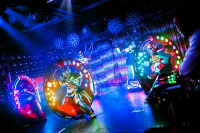 Monowheels can still be found at the Robot Restaurant in Japan, where actors dressed as robots ride the one-wheeled machines as part of the show's finale
