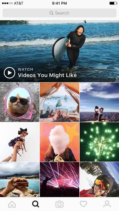 Instagram video channel screengrab