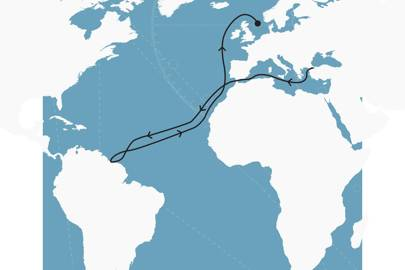 Hamal's route from February 22 to April 22, 2015, including five nights in Georgetown, Guyana