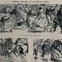 Men, women and children are using roller skates as a mode of transport around the streets (Wood engraving)