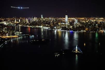 Solar Impulse 2 comes in to land in New York
