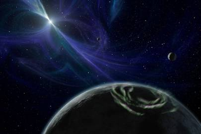 Artist's impression of PSR B1257 12 system. The star, now known as Lich, has three known planets: Draugr, Poltergeist and Phobetor