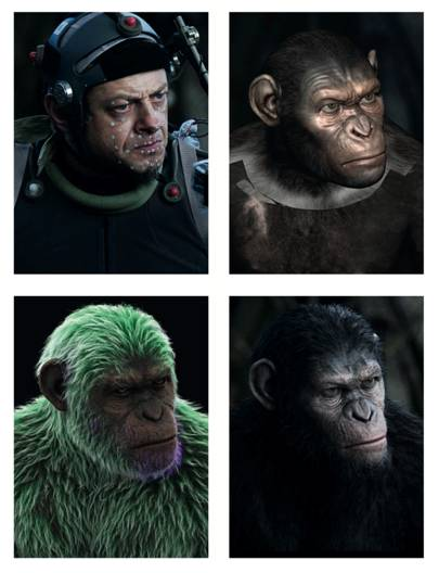 Top left: Serkis wears a performance- capture suit dotted with LED markers. Top right: A low-resolution Caesar puppet. Its face has a higher resolution for facial animation. Bottom left: Fur simulation. The colour varies depending on its intended thickness. Bottom right: The final high-resolution version of Caesar with Serkis's vivid expressions on it