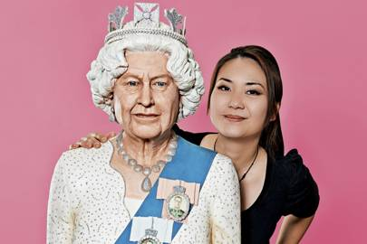 Michelle Wibowo, a cake and sugar-craft artist, with her life-sized sponge cake of the Queen. An architecture degree helped her create her more ambitious pieces, including a scale model of the new Imperial College campus.