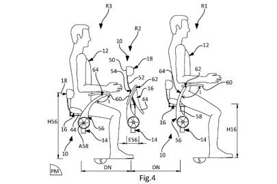 Diagram showing how increasing the height of the saddles reduces the need for horizontal legroom, thus allowing for greater seating capacity