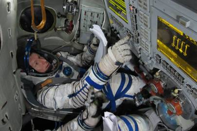 Peake training with the Soyuz simulator in Star City, Russia