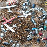 Tsunami devastation in Sendai, Japan, on March 13, 2011