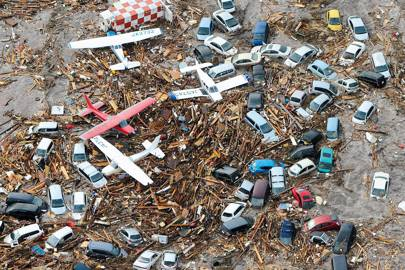 Tsunami devastation in Sendai, Japan, on March 13, 2011