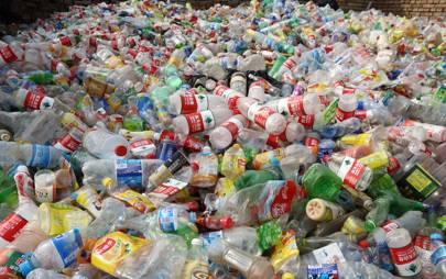 PET plastic bottles await recycling