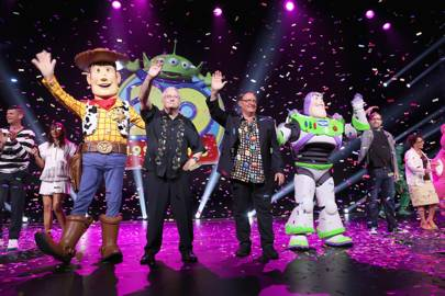 Composer Randy Newman and director John Lasseter on stage at Disney's D23 in California during the announcement of Toy Story 4