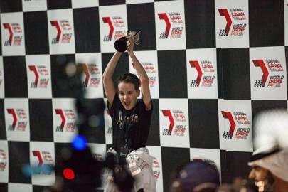 Luke Bannister celebrates his World Drone Prix win