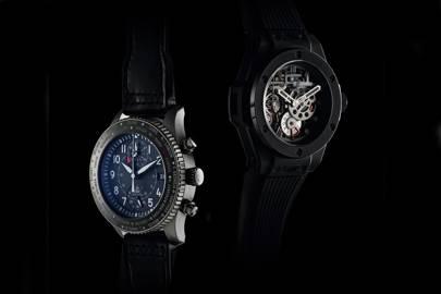 IWC Pilot's Timezoner Chronograph (left) and Hublot Meca-10 (right)