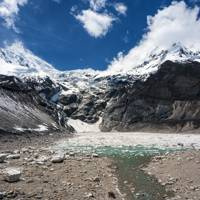 Glacier and glacier lake below Manaslu Mountain