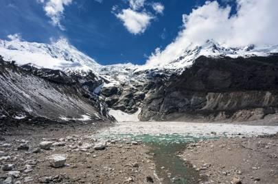 Glacier and glacier lake below Manaslu Mountain
