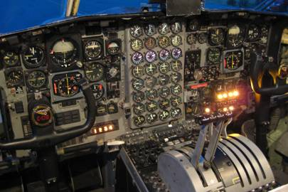 Hercules C130K's engine state panel -- a visually complex array of dials, needles, and extremely small figures