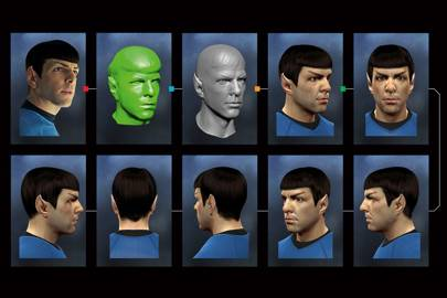 From left: Zachary Quinto as Spock in Star Trek Into Darkness footage; a 3D scan of Quinto's head, in full Spock makeup; The untextured 3D model of Spock, based on the 3D scan; the fully-rendered head